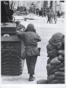 Oct. 28, 1961. An American soldier monitors the movements of Soviet tanks during the confrontation at Checkpoint Charlie.