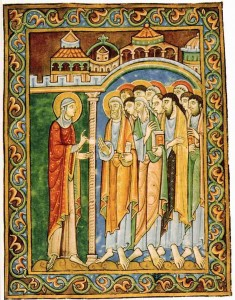 Mary Magdalen Announcing the Resurrection to the Apostles (1120's) St. Albans Psalter, St Godehard's Church, Hildesheim, England