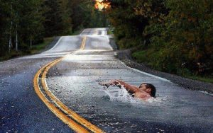 swimming-in-road