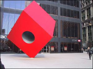Red Cube, Isamu Noguchi, American location, New York City, c. 1968
